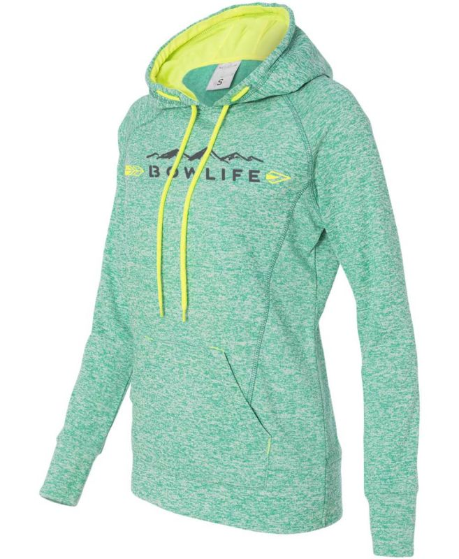 ac35944ef96827 Bow Life Women's Mountain Logo Emerald Hoodie| Ladies Bowhunting Apparel |  Girls Archery Clothing